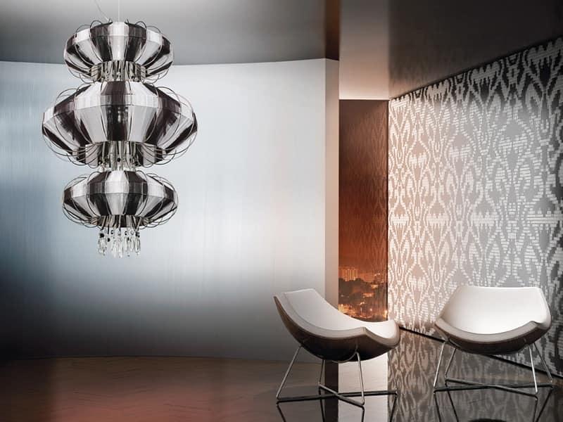Full Moon lampadario, Lampadario con pendenti in Swarovski e perle di cristallo
