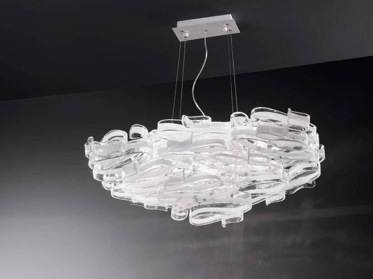 Lampadario in vetro e metallo laccato per ville moderne idfdesign - Lampadari per bagni moderni ...