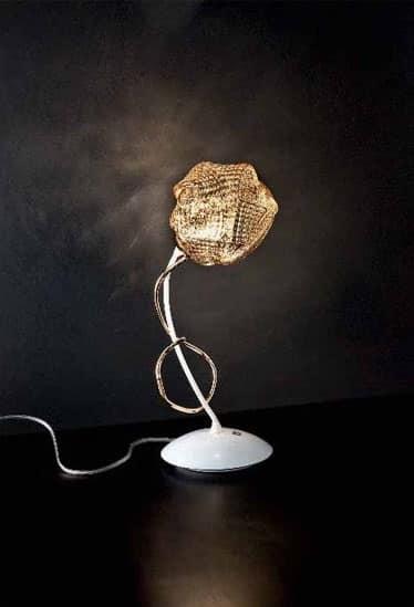 Gomitoli lumetto, Lampada da tavolo in metallo con diffusori in vetro