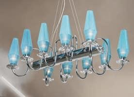 Karma lampadario, Lampadario con struttura in metallo cromato ed ottone