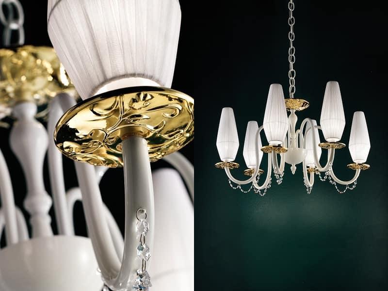 Lampadario classico con bobeches in vetro metallizzato for Lampadario classico