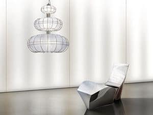 Moon lampadario, Lampadario moderno con luci su 3 livelli, forme semplici