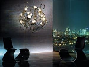 Musa lampadario, Lampadario in metallo, diffusori in vetro di murano