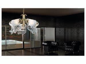 Poeme lampadario, Lampadario a 5 luci con diffusori in vetro di Murano