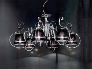 Romantica lampadario, Lampadario con diffusori in organza, in stile classico