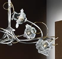 Rose lampadario, Lampadario moderno con struttura in ferro forgiato a mano