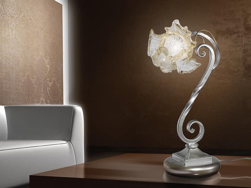 Rose lumetto, Lampada da tavolo in stile naturalistico, per scrivanie moderne