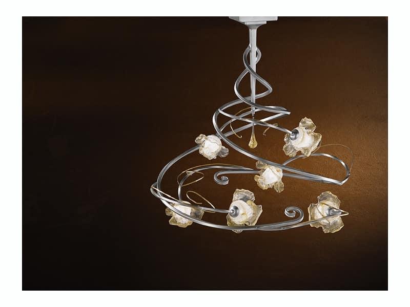 Plafoniere Con Lampadine : Lampadario moderno con luci e pendente centrale in vetro idfdesign