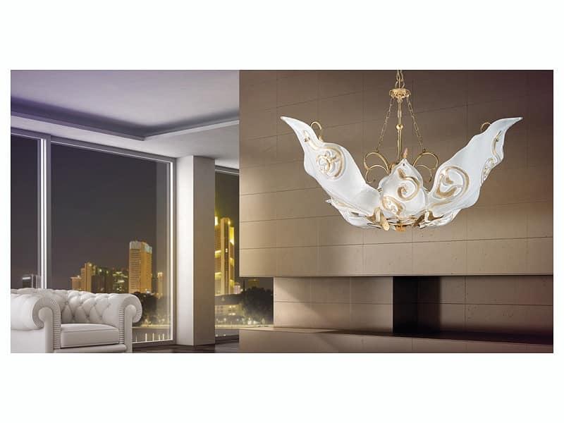 Sirio sospensione, Lampadario con diffusori in vetro muranese decorato a foglia