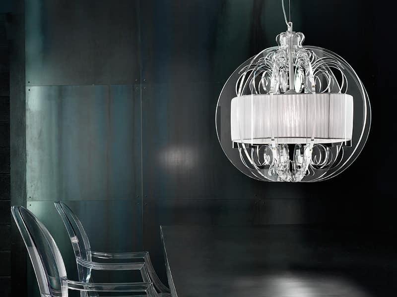 Lampada moderna a sopensione con elementi in plexyglass for Lampadario soggiorno