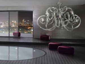 Vanity lampadario, Lampadario in ottone, forme voluttuose del vetro dei diffusori