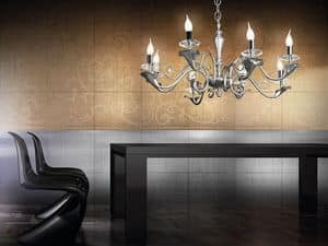 Varsailles lampadario, Lampadario con 8 luci, particolari decorati a foglia