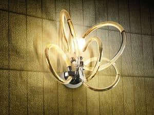 Vogue applique, Lampada da parete in ottone with diffusori in filo di vetro