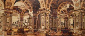 Tarsia con veduta di architetture in prospettiva, Intarsio sapientemente costruito con pregiate essenze lignee