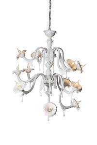 Au Revoir composizione A, Lampadario componibile, in vetro bianco opalino incamiciato