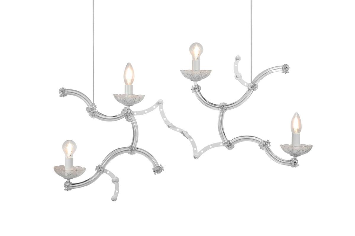 Lampade In Vetro Di Murano : Lampada a sospensione in merallo e vetro di murano idfdesign