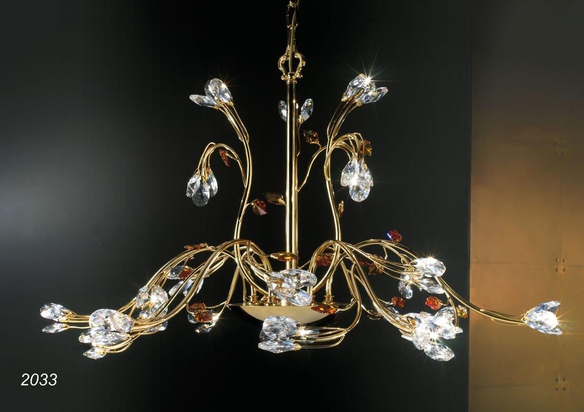 Lampadario Rosa Cristallo : Lampadario in ottone dorato kt e cristallo idfdesign