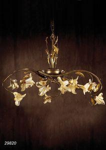 Art. 29820 Jolie, Lampadario in ottone e vetri soffiati