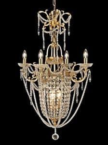 Art. 680 CR 4+3, Prezioso lampadario in ottone e cristallo