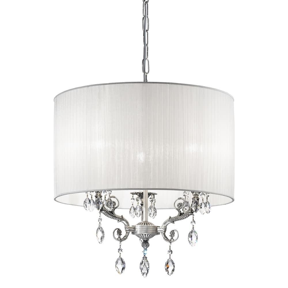 Lampadario in argento, con paralume e gocce SW | IDFdesign