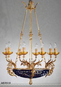 Art. MER 518, Lampadario classico con coppa in cristallo