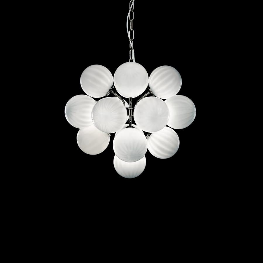 Lampadario Con Sfere Di Cristallo.Lampada A Sospensione Con Sfere In Vetro Bianco Idfdesign