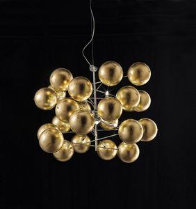 ATOM Ø 80, Lampadario con sfere in foglia oro