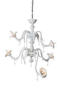 Au Revoir composizione B, Lampadario in vetro bianco, modulare, personalizzabile a piacimento