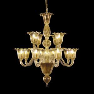 Bellepoque LE0364-8+4-K, Lampadario in cristallo con luci sfalsate