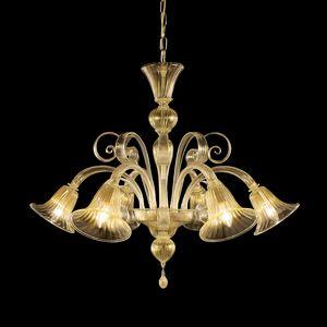 Capriccio L0560-6-K, Lampadario in vetro artistico, screziato in oro