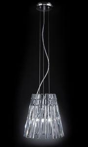CIRCLE � 32, Lampada a sospensione con pendenti in cristallo trasparente