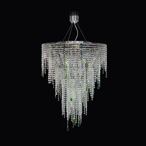Circus SS4065-75�90-N-G, Lampada a sospensione con cristalli trasparenti e verdi