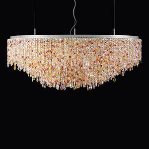 Circus SS4170E-120x80x55-N1-P, Lampada a sospensione ovale in cristallo colorato
