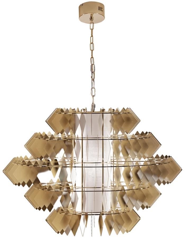 Lampadario con foglie in acciaio finitura oro pallido for Lampadario amazon