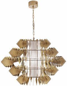 Diamante lampadario, Lampadario con foglie in acciaio, finitura oro pallido