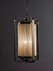 FASCE HL1087CH-3, Lanterna in ottone con paralume in tessuto