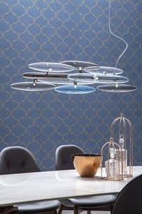 FOG, Lampada a sospensione con vetri fum� o trasparenti, disponibile con diversi colori