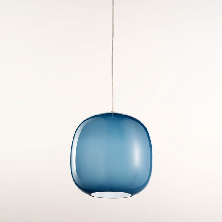Forme Ls625-025, Lampadario in vetro blu satinato