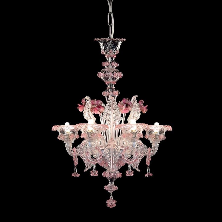 Galliano L0402,6,CRZ,MB, Lampadario in vetro con riflessi rosa