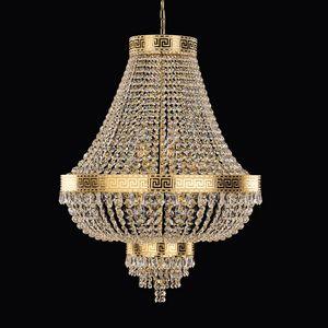 Impero SS5750-60×80-K, Lampada a sospensione in oro lucido e cristalli