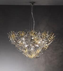 Ispirazione lampadario, Lampada in stile moderno, finiture in nichel, cromo e oro