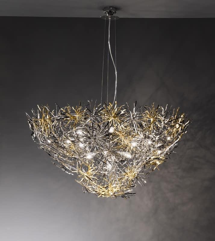 Lampada in stile moderno, finiture in nichel, cromo e oro  IDFdesign
