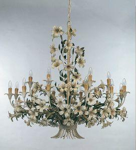 L.4340/12+6, Lampadario con decorazioni floreali in ferro battuto