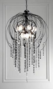 L.7935/12, Lampadario con pendenti decorati in nero lucido