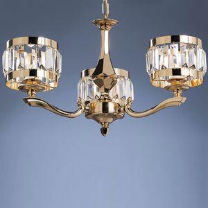 L32333, Lampadario in ottone e cristallo