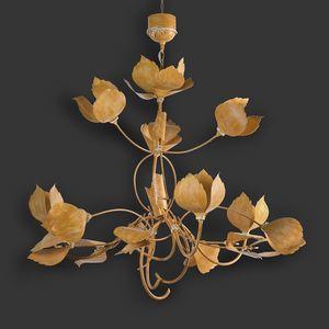 LEAVES HL1105CH-15, Lampadario in ferro forgiato con foglie
