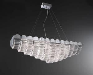 Lucidum lampadario, Lampadario in ferro, paralumi in organza, pendenti in cristallo