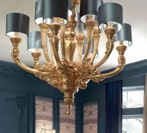 Luigi XVI Art. LAM03/12L, Elegante lampadario finitura oro