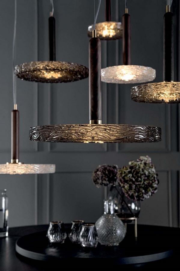 MACRABÈ lampade, Lampade in legno massello e vetro in fusione