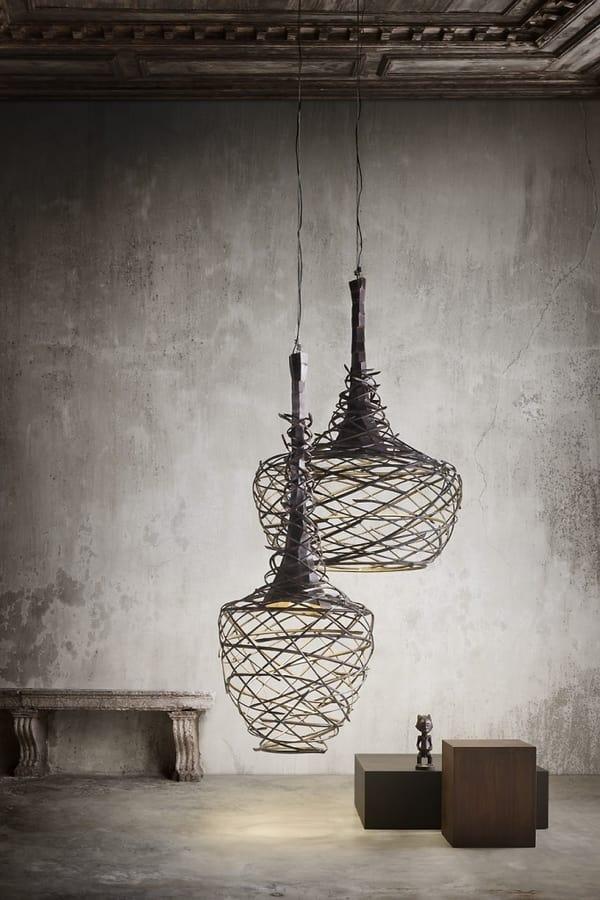 Nest, Lampade a sospensione in tubolare di ferro intrecciate a mano